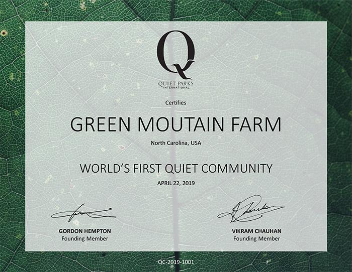quiet community green mountain farm